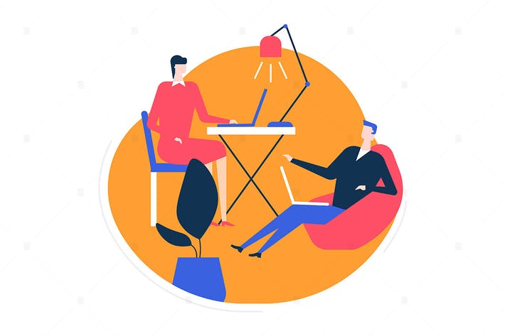 Thumbnail for Coworking space - flat design style illustration