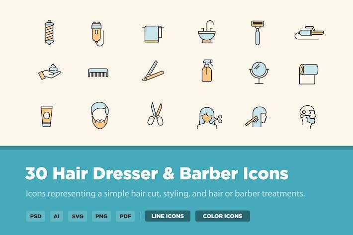 30 Hair Dresser & Barber Icons