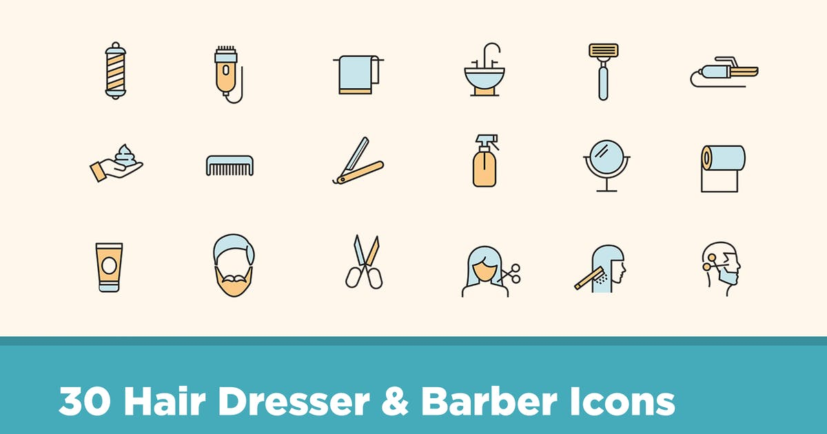 Download 30 Hair Dresser & Barber Icons by creativevip