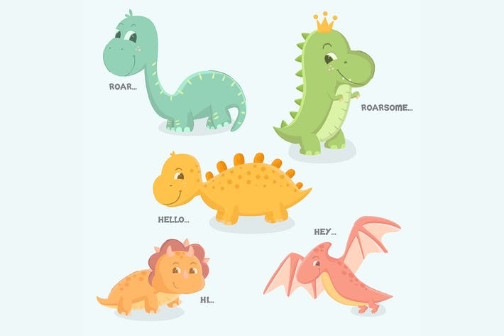 Thumbnail for Süßes Baby Dinosaurier Set handgezeichnet Illustration