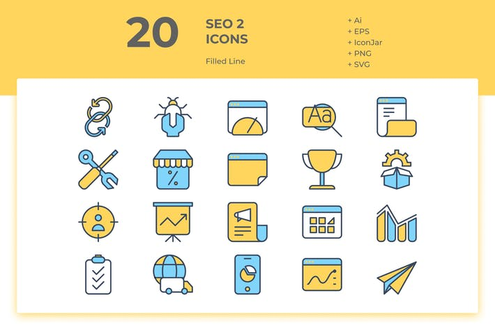 Thumbnail for 20 SEO Icons Vol. 2 (Filled Line)