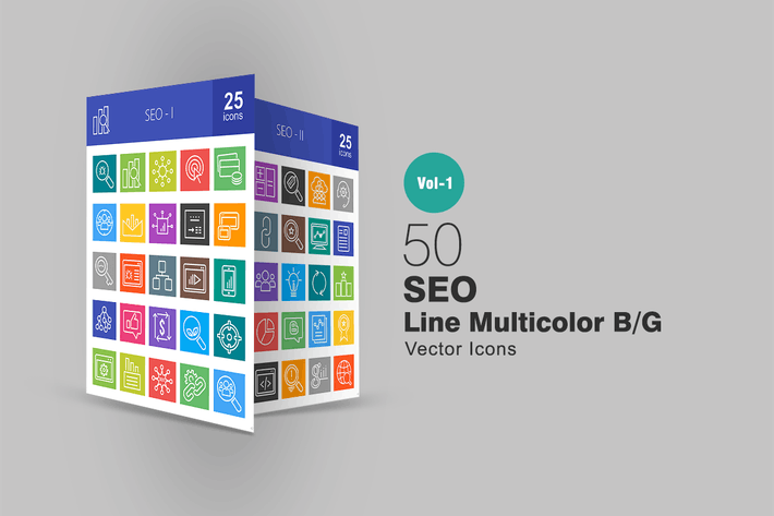 Thumbnail for 50 SEO Line Multicolor Icons