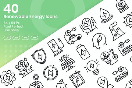 40 Renewable Enegy Icons Set - Line