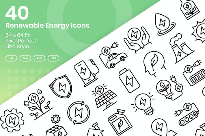 Thumbnail for 40 Renewable Enegy Icons Set - Line