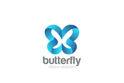 Logo Butterfly abstract Ribbon style