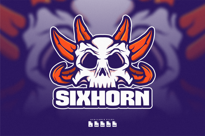 Thumbnail for Logo Skull With Six Horn Hand Drawn Style