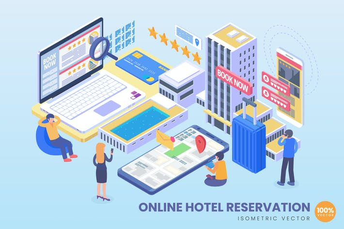 Thumbnail for Isometric Online Hotel Reservation Vector Concept