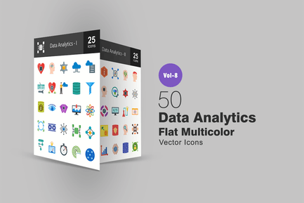 Data Analytics Flat Multicolor Icons