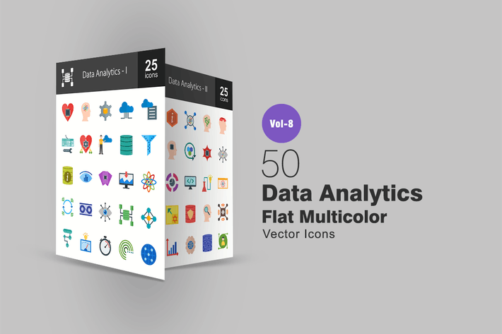 Thumbnail for Data Analytics Flat Multicolor Icons
