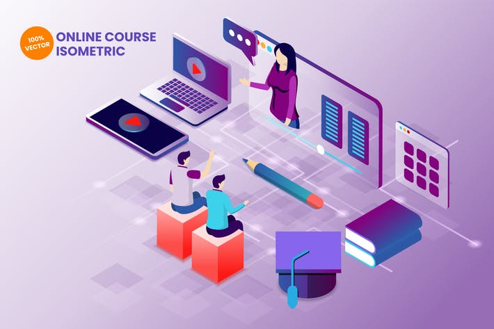 Thumbnail for Isometric Online Course Vector Illustration