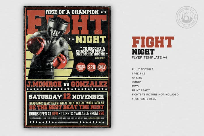 Thumbnail for Fight Night Flyer Template V4