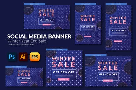 Winter Year End – Social Media Banner Template