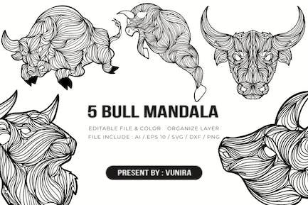 5 Bull Mandala | Design Illustration