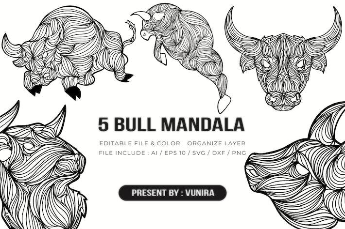 Thumbnail for 5 Бык Мандала | Иллюстрация дизайна