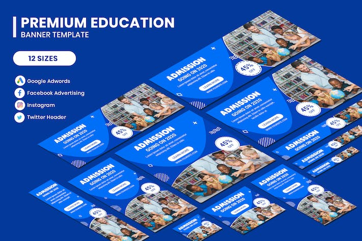 Cover Image For Premium Education Google Adwords Banner Template