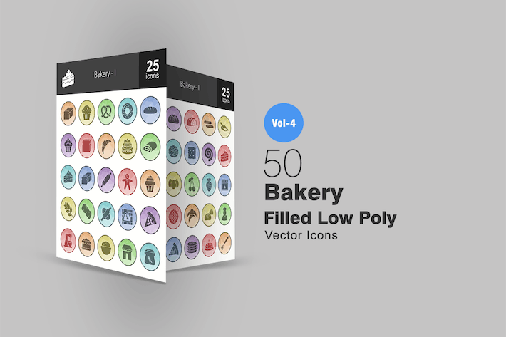 Thumbnail for 50 Bakery Filled Low Poly Icons