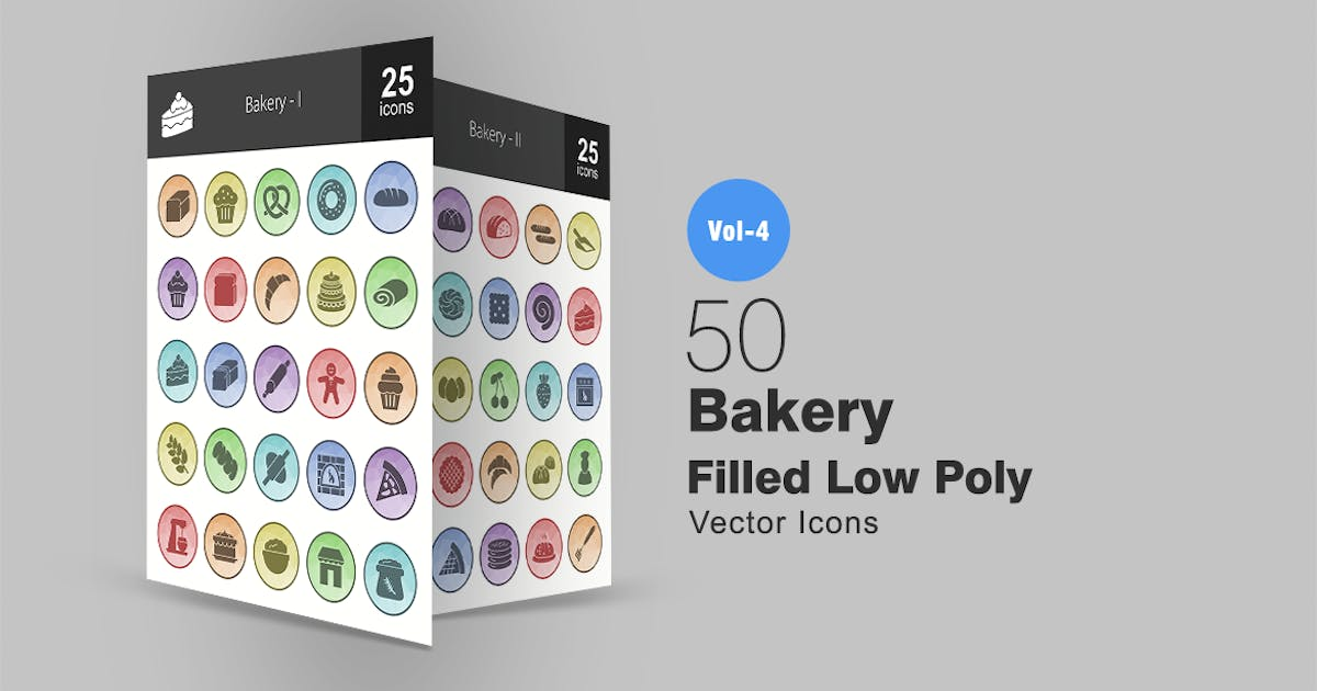 50 Bakery Filled Low Poly Icons by IconBunny