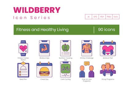 90 Fitness and Healthy Living Icons - Wildberry