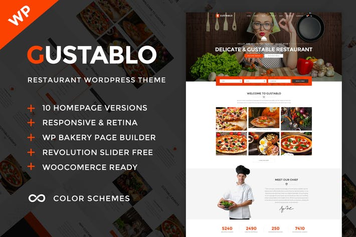 Thumbnail for Gustablo - Restaurante & Cafe WordPress Tema
