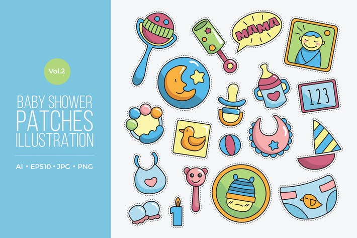 Thumbnail for Cute Baby Fashion Patches Vector Vol.2