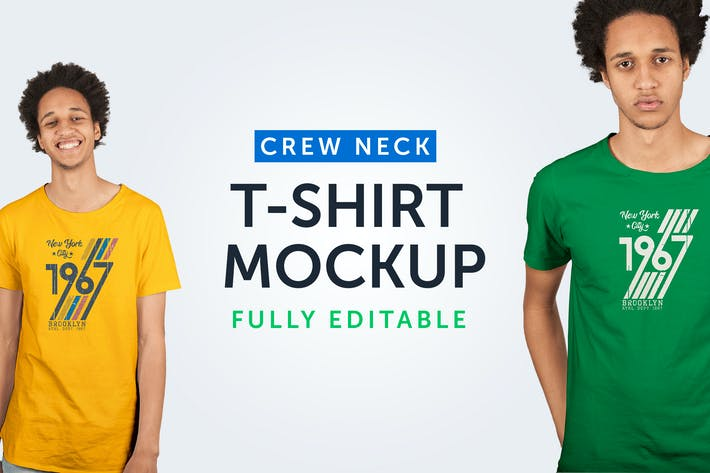 Thumbnail for Crew Neck T-Shirt Mockup 08