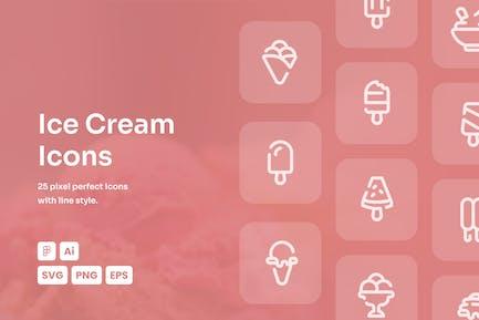 Ice Cream Dashed Line Icons