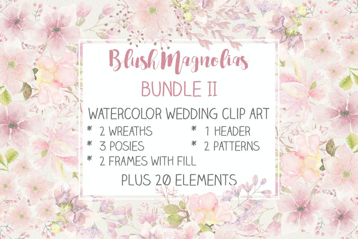 Blush Magnolias: Wedding Clip Art Set II