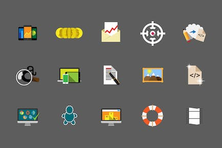IT services flat icons