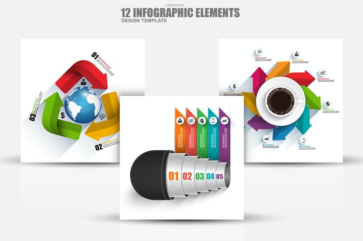 Thumbnail for Modern 3D Business Infographic Elements