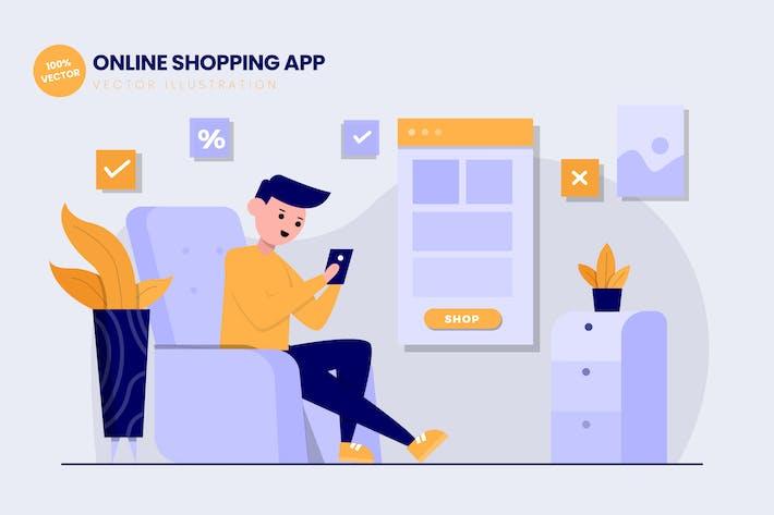Thumbnail for Online Shopping App Flat Vector Illustration