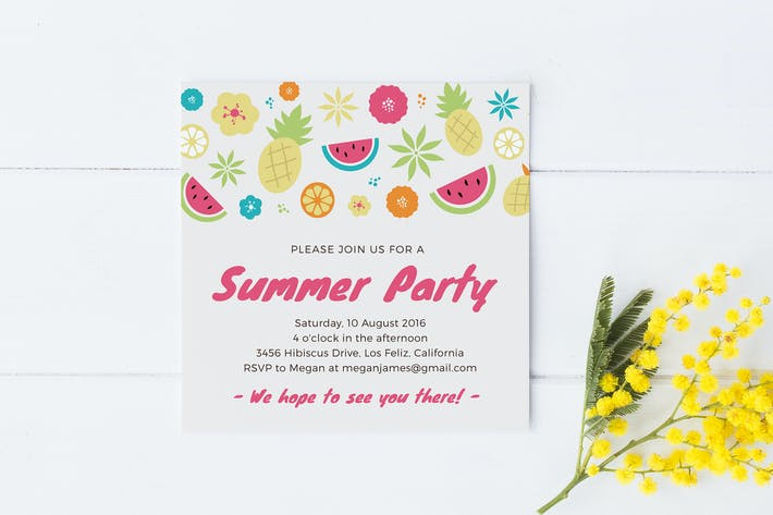 Thumbnail for Fruity Summer Party Invitation