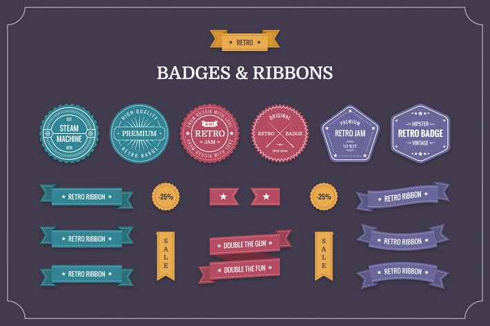 Thumbnail for Retro Badges & Ribbons