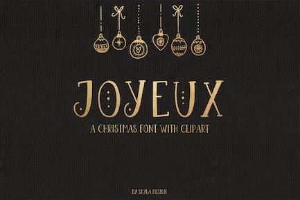 Joyeux Navidad fuente y clipart