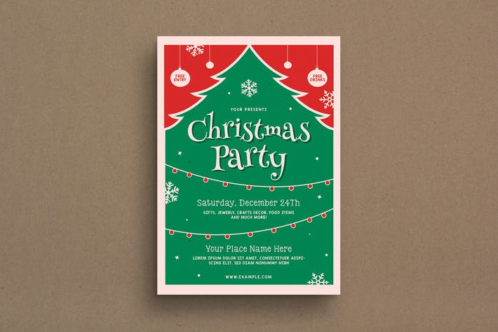 Retro Christmas Event Flyer - Green and Red Christmas Tree Illustration Theme