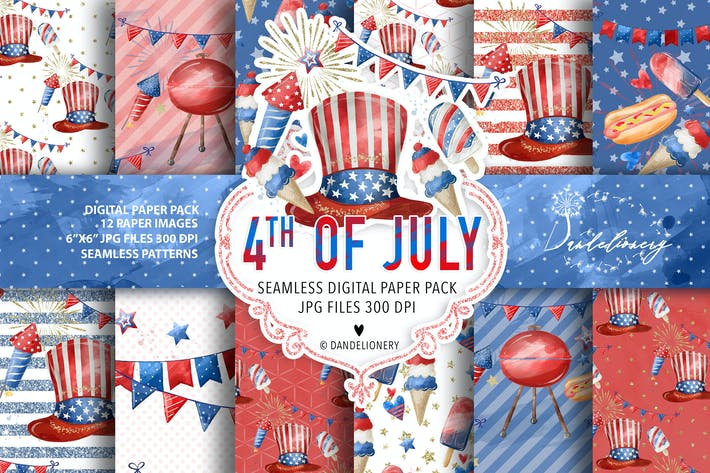 Thumbnail for Watercolor 4th of July digital paper pack