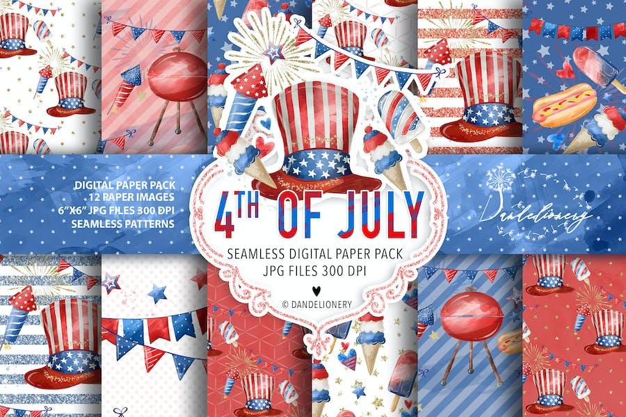 Watercolor 4th of July digital paper pack