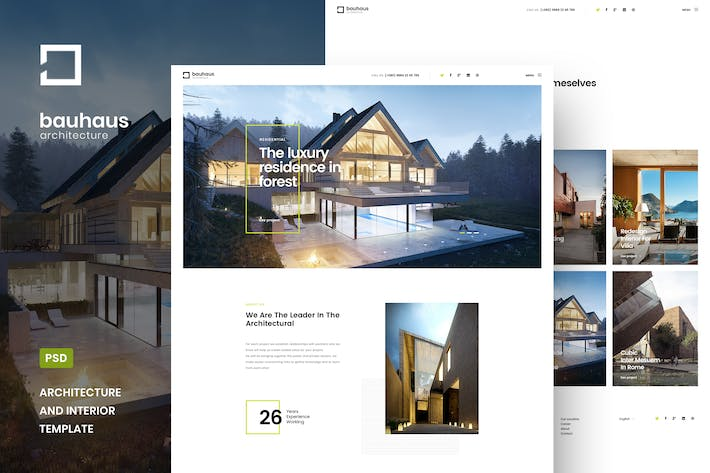 Thumbnail for Bauhaus - Architecture & Interior PSD Template