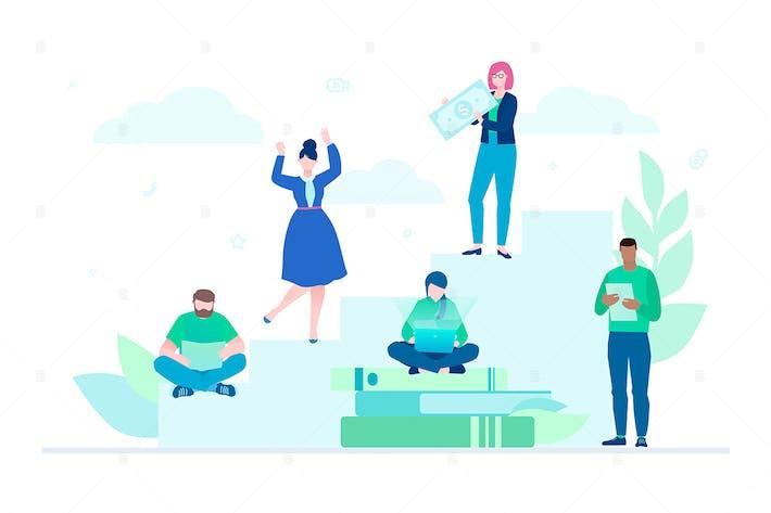 Thumbnail for Teamwork - flat design style colorful illustration