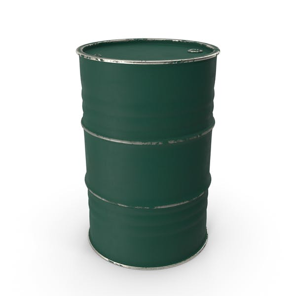 Metal Barrel Painted Green