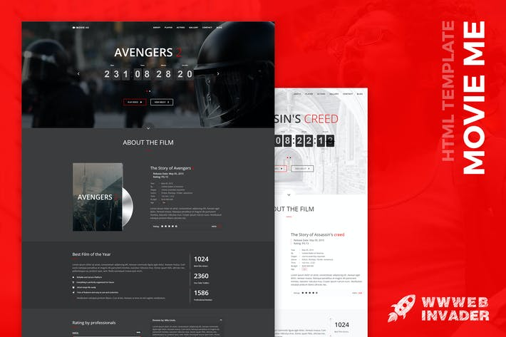 Movie Me - Cinema/Movie Bootstrap 3 HTML Template by wwwebinvader on ...