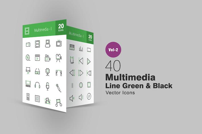 Thumbnail for 40 Multimedia Line Green & Black Icons