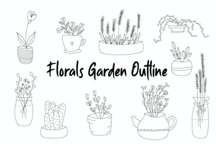 Florals Garden Gliederung handgezeichnet