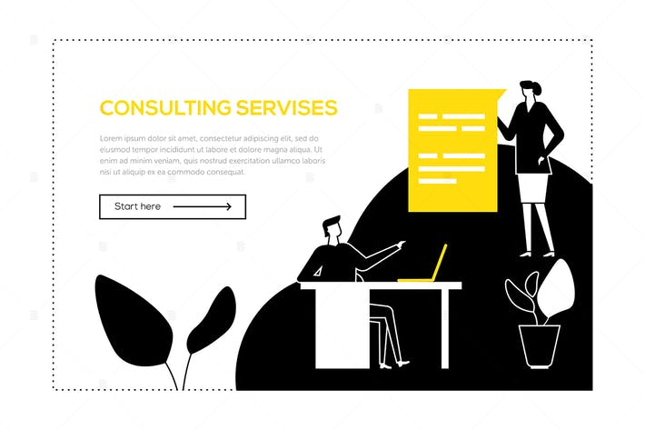 Thumbnail for Consulting services - flat design style web banner