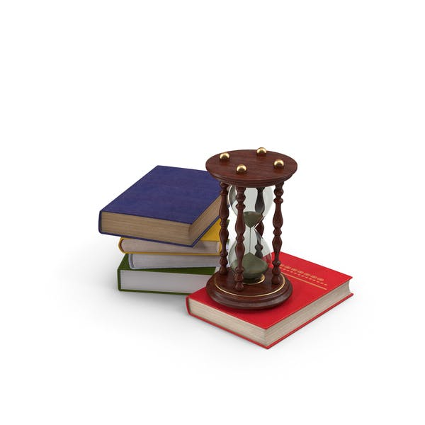Libros y reloj de arena