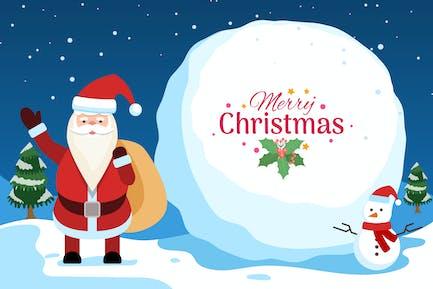Christmas Festive Illustration with Santa