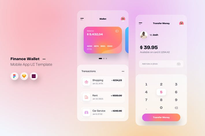Thumbnail for Wallet & Finance Mobile App UI Kit Template