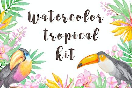 Watercolor Tropical Kit