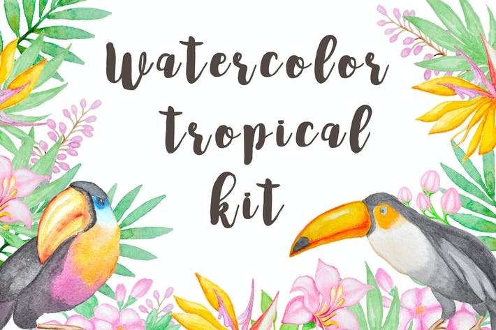 Thumbnail for Watercolor Tropical Kit