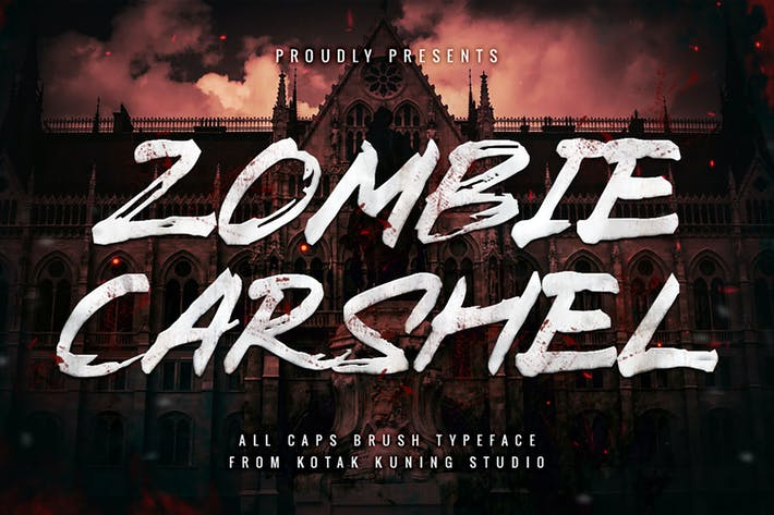 Thumbnail for Zombie Carshel - Brush Textured Font