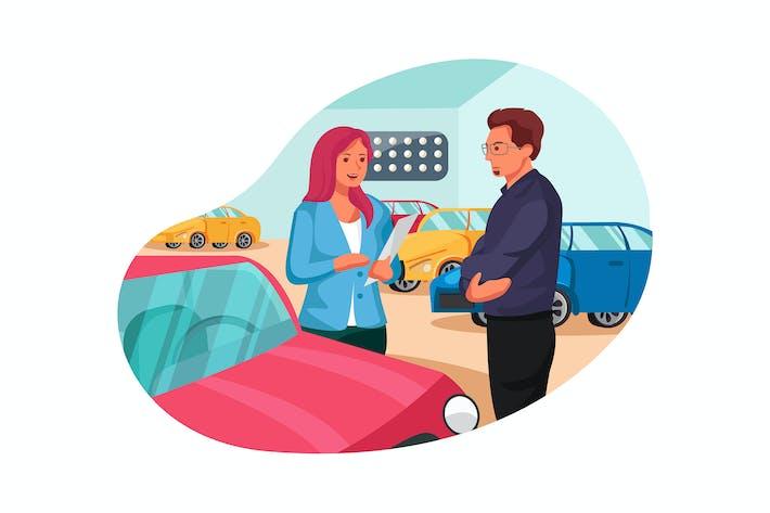 Vertriebsmitarbeiter, der potenziellen Kunden Fahrzeug zeigt
